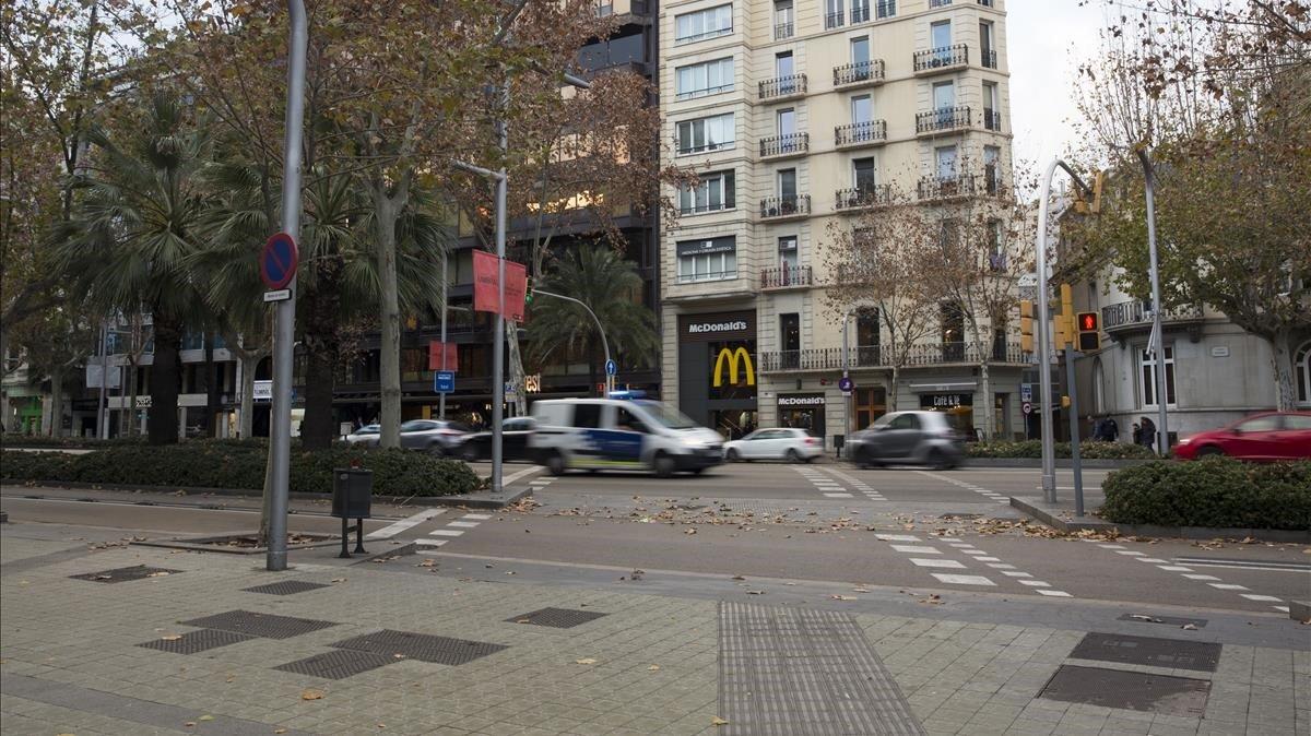La avenida Diagonal, en la confluencia de Rambla Catalunya.