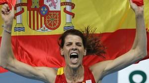 Beitia,en la celebración de su oro olímpico.