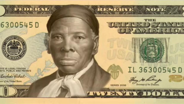 Billete simulado de 20 dólares con la imagen de Harriet Tubman.