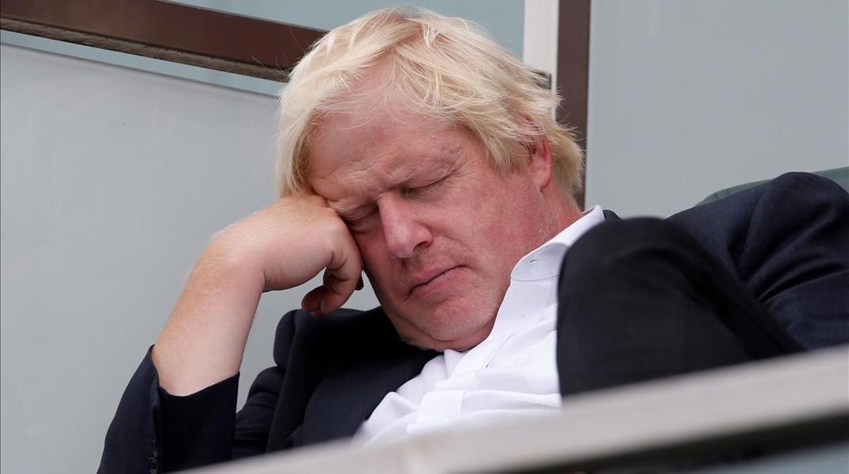 Boris Johnson, el sábado durante un partido de críquet entre India e Inglaterra.