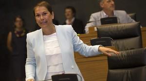 La candidata de Geroa Bai a la presidencia de Navarra, Uxue Barkos, este lunes, 20 de julio, en el debate de investidura.
