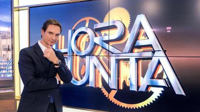 Javier Cárdenas,pionero de la basura,en el plató de 'Hora punta'.