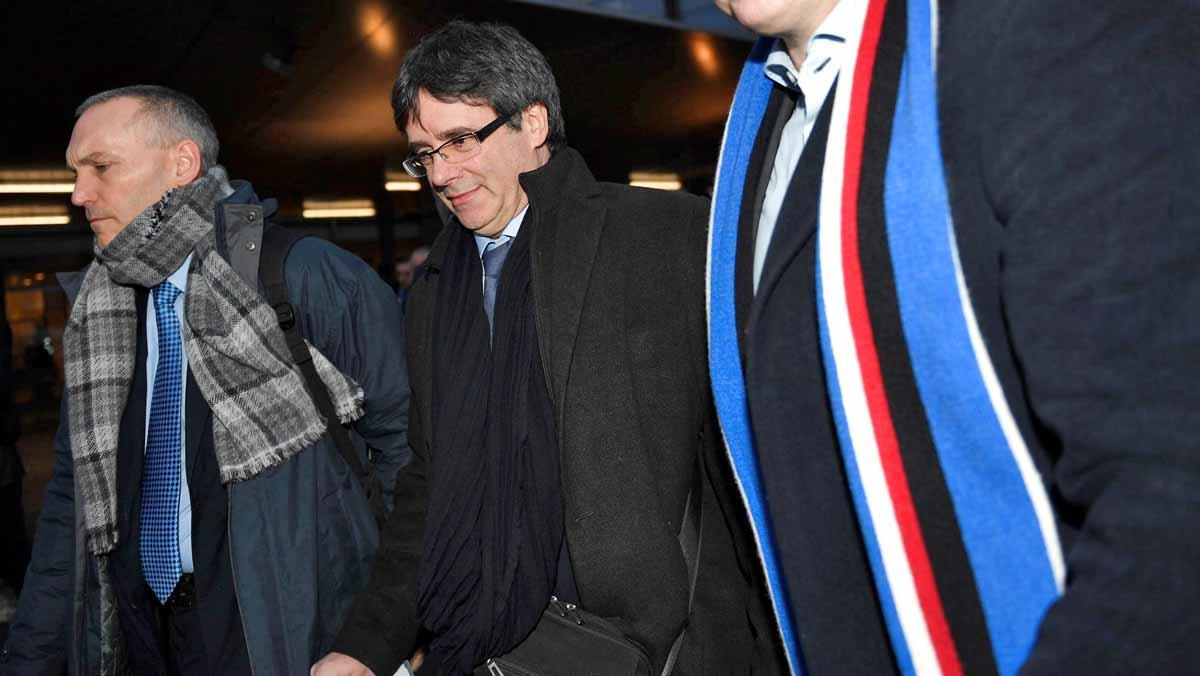 Carles Puigdemont a larribar a Copenhaguen.
