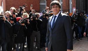 Carles Puigdemont, a su salida del centro de detención de Neumuenster, el pasado 6 de abril.