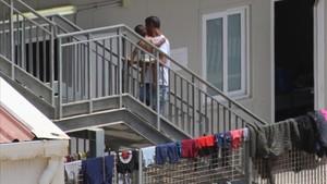 Un centro de acogida de inmigrantes en la isla de Lampedusa, en Italia.