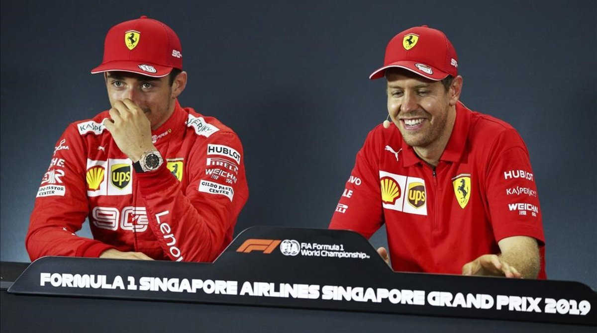 Charles Leclerc y Sebastian Vettel, en la confrrencia de prensa del GP de Singapur.