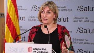 La 'consellera' de Salut de la Generalitat,Alba Vergés, en una rueda de prensa el 4 de mayo.