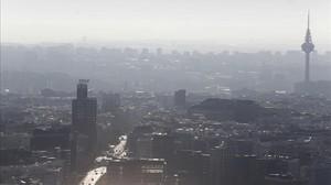Madrid, en un día de alta contaminación, en el 2015.