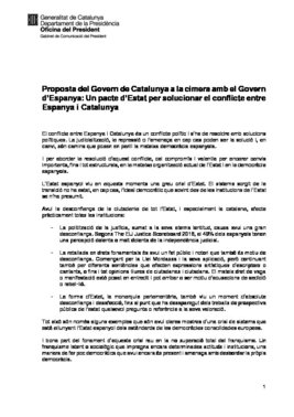 El documento del Govern de las 21 peticiones de Torra a Sánchez.