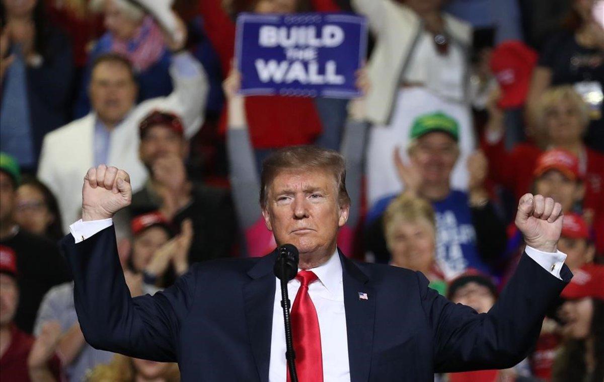 Donald Trump durante su acto en El Paso para defender la construcción del muro.