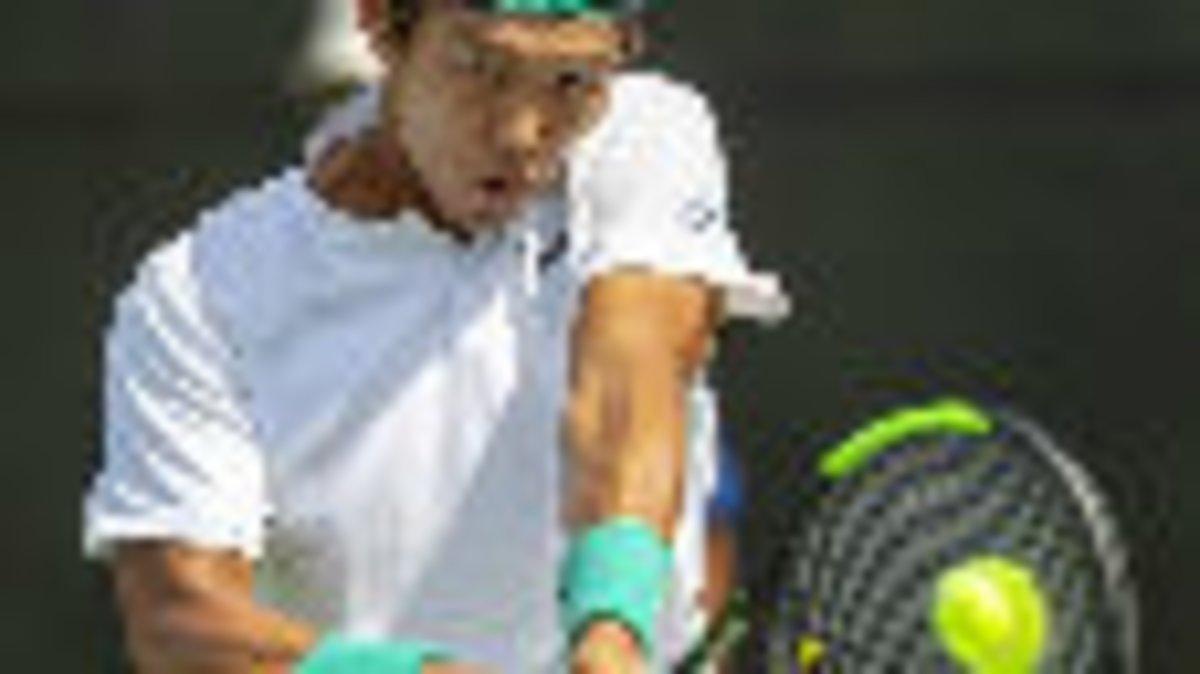 Duckhee Lee durante el partido frente a Henri Laaksonen en el ATP 250 de Winston Salem.
