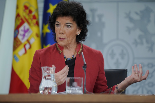 Isabel Celaá,portavoz del Gobierno,enla rueda de prensa posterior al Consejo de Ministros.