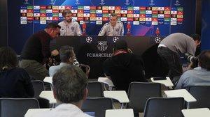 Ernesto Valverde, técnico del Barça, en la sala de prensa, hoy, de la Joan Gamper.