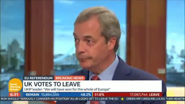 Farange, líder del UKIP, reconocer que fue un error usar el argumento del dinero que se destina a Bruselas.
