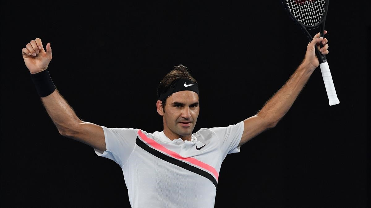 Federer celebra su victoria.