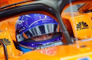 Fernando Alonso, durante los primeros ensayos del GP de Francia hoy con su McLaren-Renault.