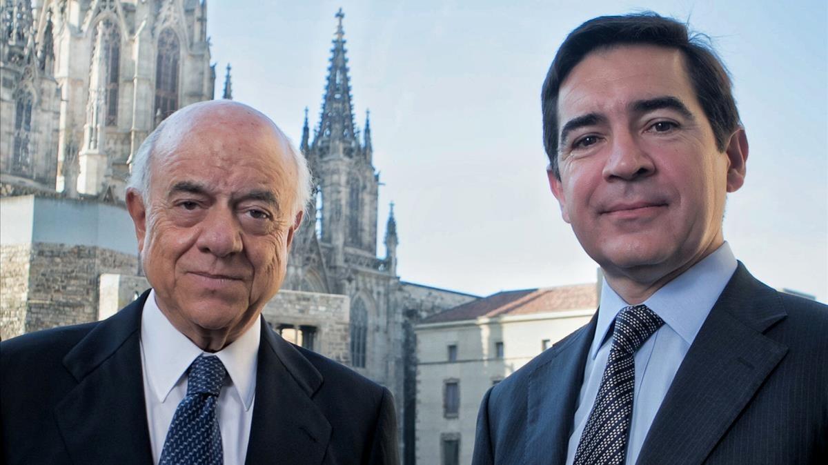 Francisco González, presidente del BBVA, y Carlos Torres, consejero delegado de la entidad.