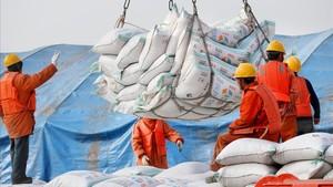 Unos operarios descargan sacos de soja en el puerto de chino deNantong.