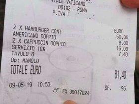 81 euros per dues hamburgueses i tres cafès a Roma