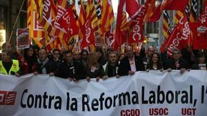 Imagen de una manifestación en Barcelona contra la reforma laboral en su segundo aniversario, en febrero del 2014.