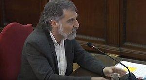 Jordi Cuixart, durante su declaración en el juicio del procés.