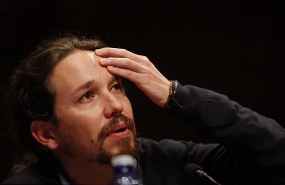 El líder de Podemos, Pablo Iglesias, en el acto en la Universidad Complutense donde arremetió contra la prensa.