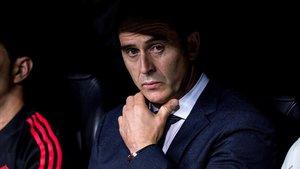 Lopetegui, en el banquillo del Bernabéu en el duelo del Madrid con el Viktoria Plzen.