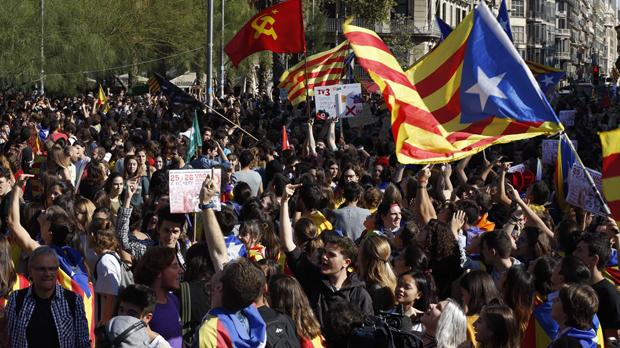 Manifestació d'estudiants a Barcelona.