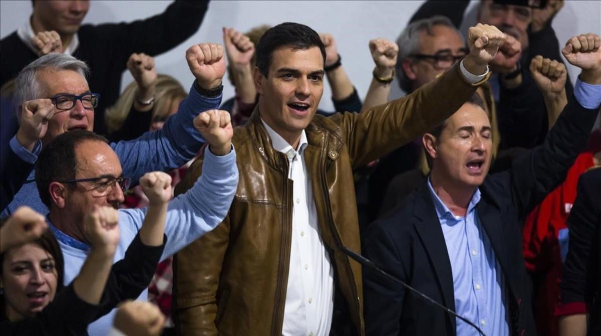 Pedro Sánchez, en su encuentro con militantes en Castellón.