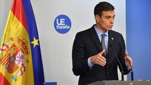 Pedro Sánchez en rueda de prensa tras el Consejo.