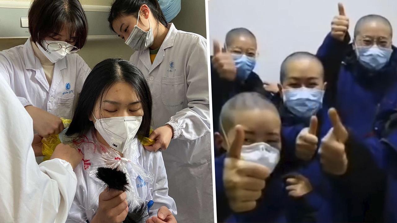 El personal sanitario de Wuhan se rapa para ser más eficiente en su lucha contra el virus.