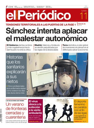 La portada d'EL PERIÓDICO de l'11 de maig del 2020
