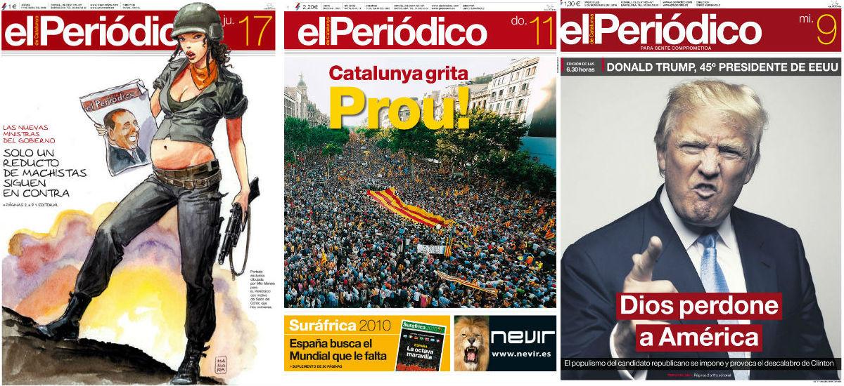 Portadasde EL PERIÓDICOde Catalunya del 17 de octubre del2008,11 de julio del2010 y del 9 de noviembre del 2016