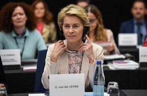 La presidenta de la Comisión Europea, Ursula von der Leyen, durante la conferencia de presidentes de la Eurocámara.