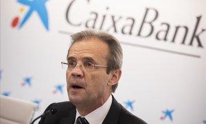 El presidente de Caixabank, Jordi Gual, durante la presentación de resultados de la entidad correspondientes al ejercicio 2018.