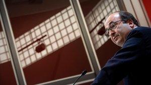 El primer secretario del PSC, Miquel Iceta, en la rueda de prensa que ofreció este lunes.