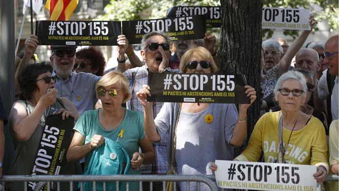 Protesta ante la Diputació de Barcelona por el pacto entre JxCat y PSC.