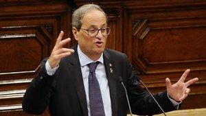 Quim Torra, durante un pleno del Parlament.