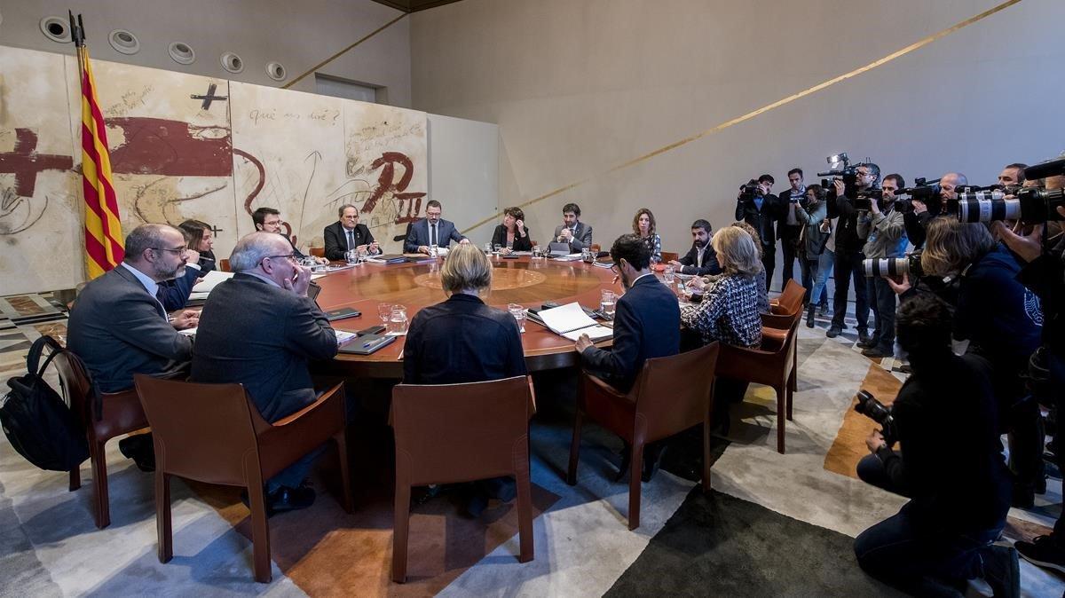 Reunión del Govern, este miércoles,tras el anuncio de Torra de que convocará elecciones una vezaprobados los presupuestos de la Generalitat.