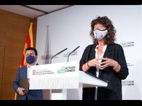 Roda de premsa de Teresa Jordà i Pere Aragonès.