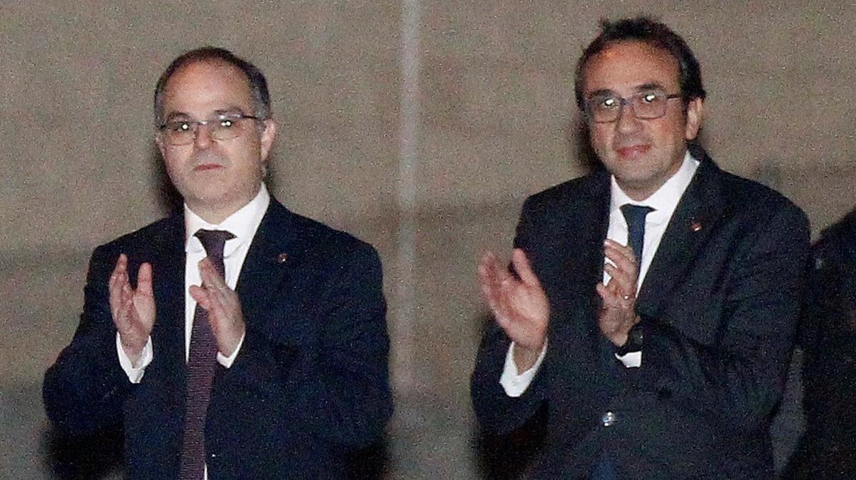 Jordi Turull y Josep Rull, a su salida de la prisión de Estremera.