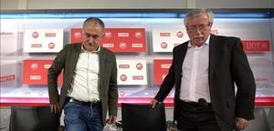 Los secretarios generales de UGT, Josep Maria Álvarez, y deCCOO, IgnacioFernández Toxo.