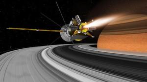 La sonda Cassini, sobre los anillos de Saturno, en una recreación artística.