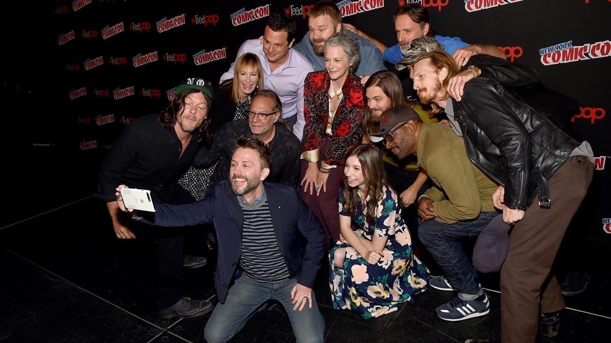 El equipo de la serie The walking dead, durante su intervenciónen el festival Comic-Con celebrado en Nueva York.