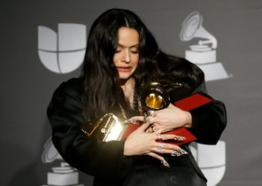 The 20th Annual Latin Grammy Awards â Photo Roomâ Las Vegas, Nevada, U.S., November 14, 2019 â Rosalia poses backstage with her awards for Best Contemporary Pop Vocal Album and Album of the Year for El Mal Querer and Best Urban Song for Con Altura. REUTERS/Danny Moloshok TPX IMAGES OF THE DAY
