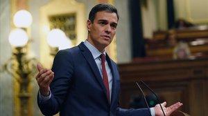Pedro Sánchez en su última intervención de la legislatura ante el Congreso.