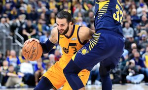 INDIANAPOLIS, IN - NOVEMBER 19: Ricky Rubio #3 of the Utah Jazz dribbles the ball against the Indiana Pacers at Bankers Life Fieldhouse on November 19, 2018 in Indianapolis, Indiana. NOTE TO USER: User expressly acknowledges and agrees that, by downloading and or using this photograph, User is consenting to the terms and conditions of the Getty Images License Agreement. Andy Lyons/Getty Images/AFP
