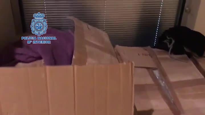 Imágenes del registro en Badalona, el pasado julio, donde la Policía Nacional incautó 163 kilos de metamfetamina.
