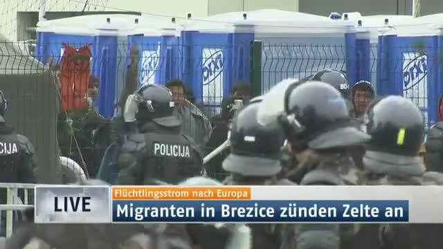 Vídeo del incendio provocado por los refugiados en un campo de asilo esloveno.