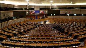 Vista del hemiciclo vacío del Parlamento Europeo en Bruselas.